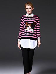 frmz mulheres que saem regularmente pulloverstriped / animal print / carta-de-rosa em torno do pescoço de manga comprida bonito meio inelástica