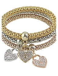 Elastic Rhinestone Heart Charms Chain Bracelets