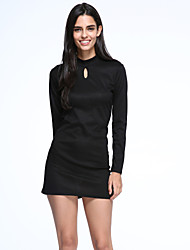 Women's Casual/Daily A Line Dress,Solid Stand Above Knee Long Sleeve Black Cotton / Nylon Fall