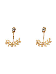 Fashion Women Stone Set Leaf Front And Back Earrings(one earring two ways to wear)