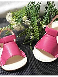 Girls' Sandals Leather Summer Outdoor Magic Tape Flat Heel White Black Fuchsia Blushing Pink Flat