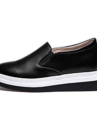 Damen-Loafers & Slip-Ons-Lässig-Leder-Plateau CreepersSchwarz Weiß