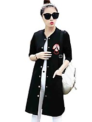 Women's Casual/Daily Simple Hin Thin Loose Fall Jackets,Print Round Neck Long Sleeve