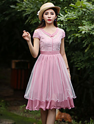 Our Story Women's Going out Chinoiserie Sheath DressEmbroidered Round Neck Knee-length Short Sleeve Pink
