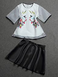 Damen Stickerei Chinoiserie Ausgehen T-shirt Rock,Rundhalsausschnitt Sommer Ärmellos Weiß Baumwolle / Polyester Mittel