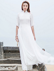 Gaine Robe Femme Décontracté / Quotidien simple / Chinoiserie,Couleur Pleine Mao Maxi Manches Longues Blanc Polyester Printemps / Automne