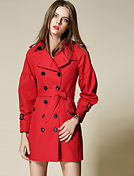 Burdully Work Simple Trench CoatSolid Peaked Lapel Long Sleeve Winter Red / Beige Cotton / Polyester Medium