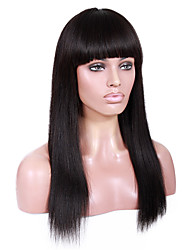 20-24inch Yaki Straight with Full Bang Brazilian virgin remy human hair glueless lace front wigs for African Americans