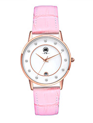 Belle Rose Golden Case White Dial Pink Leather Strap Watch