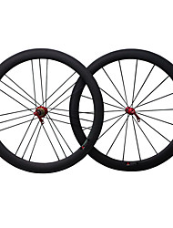 50C-23mm Red R13 G3 Carbon Fiber 700c Road Bike Wheelsets Clincher 3k Weave Clear /Matte Finish Wheels with 9/10/11S