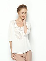 Zebra® DESPIDA Feminino Decote U 1/2 Comprimento da luva Camisa Preta / Branco / Vermelho / Azul Real-QT7352
