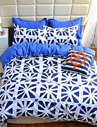 edtoppings Comforter Duvet Quilt Cover 4pcs Set Queen Size Flat Sheet Pillowcase Blue White Prints Microfiber Fabric