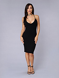 Women's Casual/Daily Simple Sheath Dress,Solid Strap Above Knee Sleeveless Black Linen / Polyester Summer