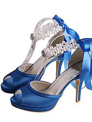 Women's Sandals Spring / Platform Stretch Satin Wedding / Party & Evening / Dress Stiletto Heel Pearl Royal Blue Others
