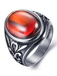 Массивные кольца Драгоценный камень Циркон Титановая сталь По заказу покупателя Мода Винтаж Черный Красный Зеленый Бижутерия Повседневные
