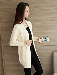 Women's Casual/Daily Cute Long CardiganSolid  Cowl Long Sleeve  Fall / Winter Thick Micro-elastic