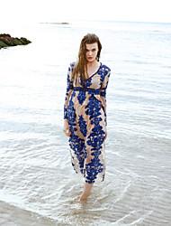 praia do vintage balanço vestido de mulher liangsanshi, bordado v pescoço maxi primavera de poliéster de manga longa azul / vermelho