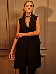 c + impressionar o trabalho das mulheres simples verão blazersolid pico lapela sem mangas de poliéster preto opaco