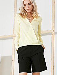 Damen Solide Anspruchsvoll Ausgehen T-shirt,V-Ausschnitt Frühling / Herbst Langarm Blau / Grau / Gelb Polyester Mittel