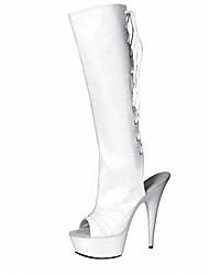 Feminino-Botas-Sapatos clube Botas da Moda-Salto Agulha-Preto Vermelho Branco Cinza-Couro Envernizado Materiais Customizados-Social