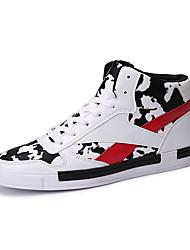 Masculino-TênisRasteiro-Branco Preto e Vermelho Preto e Branco-Couro Ecológico-Para Esporte