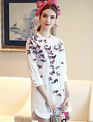 Women's Casual/Daily Simple Spring ShirtEmbroidered Shirt Collar  Sleeve White Cotton Thin