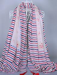 Women's Fashion Voile Chromatic Stripe Plain Coloured Floral Tassel Scarf