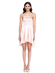 2017 lanting bride® asymétriques satin stretch me mini robe de demoiselle d'honneur - bustier une ligne avec des perles