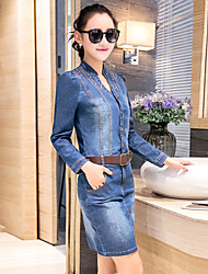 Boutique S Going out Vintage Sheath DressSolid Round Neck Above Knee Long Sleeve Blue Cotton Summer