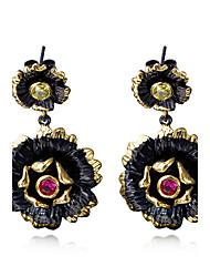 New style Bohemian Black Gold Plated Flower earrings For women Female Fashion Wedding earrings Accessories