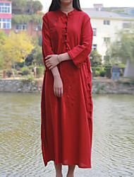 Feminino Túnicas Vestido,Casual Chinoiserie Bordado Colarinho Chinês Médio Manga ¾ Vermelho Algodão / Linho Primavera / OutonoCintura