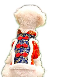 Festival Brocade  Embroidery Traditional Chinese Garments Dogs Coat for Pets Puppy Dogs (Assorted Sizes and Colours)