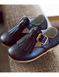 Girls' Flats Comfort Leather Spring Fall Casual Walking Comfort Tassel Flat Heel White Black Yellow Blushing Pink Flat