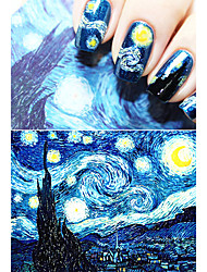 Van Gogh Starry Night Romantic Nail Art Nail Stickers High Quailty Nail Tools Gel Decals Makeup French Manicure