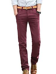 Herren Jeans-Einfarbig Freizeit / Büro Baumwolle / Leinen / Polyester / Elasthan Schwarz / Blau / Rot