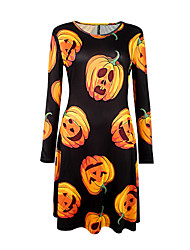 Women's Casual/Daily Cute Shift DressPrint Pumpkin Round Neck Above Knee Long Sleeve Mid Rise Micro-elastic