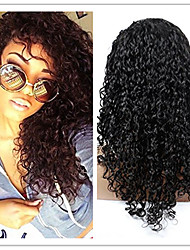EVAWIGS Natural Black Color Brazilian Virgin Human Hair U Part Lace Front Kinky Curly  Lace Wig