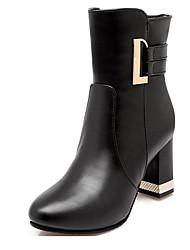 Mujer-Tacón Robusto-Botas a la Moda-Botas-Oficina y Trabajo / Casual-Semicuero-Negro / Marrón / Rojo / Beige