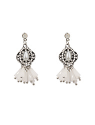 Fashion Women Stone Set White Drop Earrings