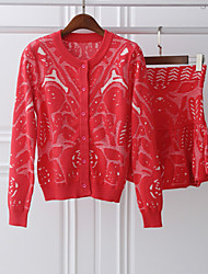 Boutique S Women's Going out Cute Spring Set SkirtJacquard Round Neck Long Sleeve Red