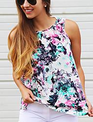 Tee-shirt Aux femmes,Fleur Décontracté / Quotidien Sophistiqué Eté Sans Manches Col Arrondi Vert Polyester Opaque