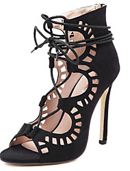 Women's Sandals Hollow Out and Ankle Strap Pumps Lace-up Peep Toe Sandals 4.34 Inch Heels Black and Almond Colors