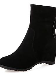 Feminino-Botas-Inovador Botas de Cowboy Botas de Neve Botas da Moda-Anabela-Preto Bege Pêssego-Couro Envernizado Courino-Casamento