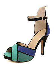 Women's Heels Spring / Summer / Fall / Winter Comfort Leather Wedding / Dress Stiletto Heel Fur Blue / Orange Others