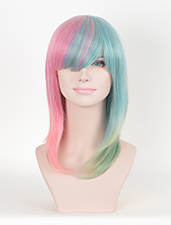moda feminina cor de rosa retas multi-cor Cospaly perucas sintéticas