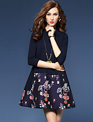 Women's Going out Sophisticated A Line DressFloral Round Neck Above Knee  Sleeve Blue Cotton Fall