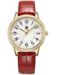 Victoria Golden Case White Dial Red Leather Strap Watch
