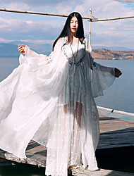 Whisper Wheat Women's Flare Sleeve Going out / Vintage A Line DressPatchwork / Embroidered V Neck Maxi Long Sleeve White Silk Summer