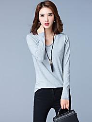Tee-shirt Aux femmes,Couleur Pleine Décontracté / Quotidien / Grandes Tailles simple Automne Manches Longues Col ArrondiRouge / Noir /