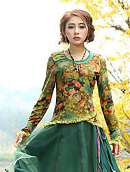 Tee-shirt Aux femmes,Fleur Sortie Vintage Printemps / Automne Manches Longues Col Arrondi Jaune Coton / Polyester / Spandex Moyen